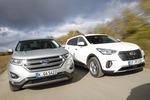 Edge und Grand Santa Fe im Test: Kantiger Ford vs. großer Hyundai