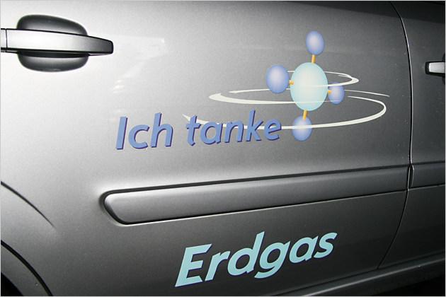 Ich tanke Erdgas: Klares Bekenntnis auf der hinteren Seitentür