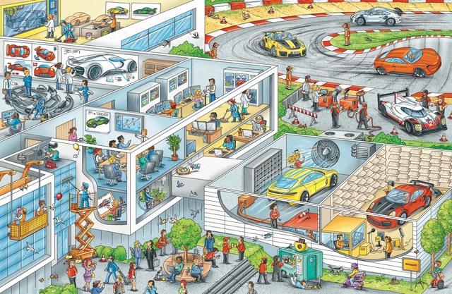 Wimmelbuch mit Sportwagen-Ikone - Wo ist der Porsche?