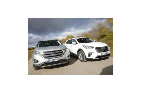 Edge Und Grand Santa Fe Im Test Kantiger Ford Vs Grosser Hyundai