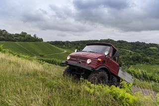 Panorama: Weinbau mit einem Unimog - Veteran im Wingert
