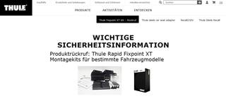 Thule Rapid Fixpoint XT KIT  - Rückruf für Dachträger-Befestigung